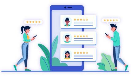 To unge mennesker interagerer med SearchComet brugeranmeldelser på egne smartphones med en stor mobil i midten