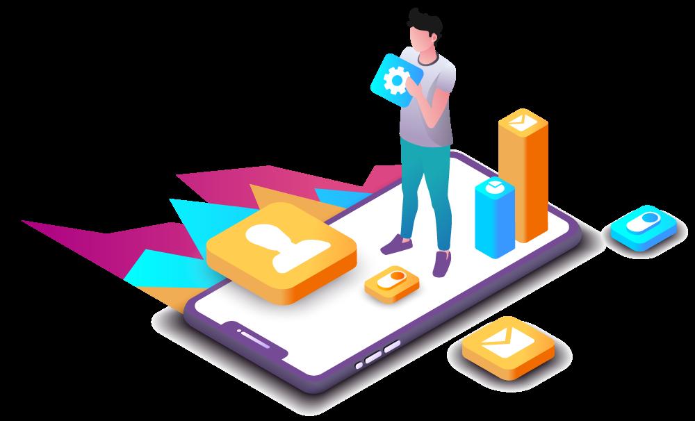 Searchcomet marketingekspert står på mobiltelefon og designer løsninger ud fra grafer formet som skygge af bjerge