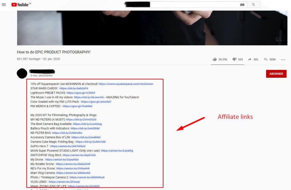 Affiliate marketing YouTube